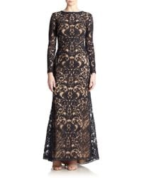 Tadashi Shoji Cord-Embroidered Lace Gown blue - Lyst