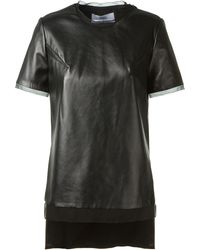 Prabal Gurung Black Leather and Silk Top - Lyst