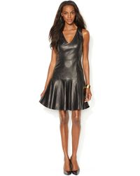 Lauren by Ralph Lauren Leather V Neck Dress - Lyst