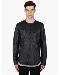 Nonnative Mens Black Leather Labourer Overshirt - Lyst