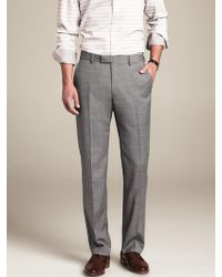 Banana Republic Tailored-fit Gray Micro-dot Wool Suit Trouser - Lyst