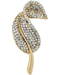 Charter Club - Charter-club Gold-tone Crystal Pave Leaf Pin, Only At Macy's - Lyst