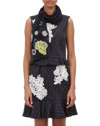 Erdem - Flower-Embroidered Crepe Scarf - Lyst