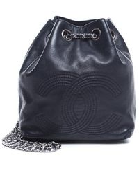 Chanel Pre-owned Navy Lambskin Cc Drawstring Backpack - Lyst