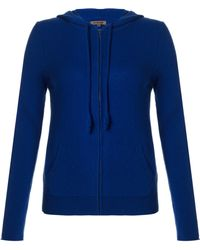 Jigsaw Cashmere Hooded Zip Cardigan - Blue