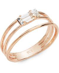 Bing Bang Triple Band Swarovski Crystal Baguette Ring - Metallic