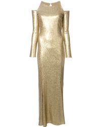 Donna Karan New York Long Metallic Cut-Out Shoulder Dress - Lyst