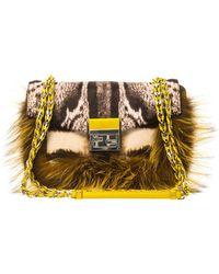 Fendi Be Baguette Calf-Hair And Fox-Fur Bag - Lyst