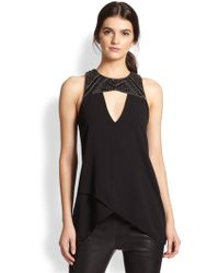 Sachin & Babi Henna Beaded Faux Leather-yoke Crossover Top - Lyst