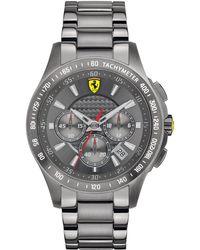 Scuderia Ferrari Men'S Chronograph Scuderia Gray Ion-Plated Steel Bracelet 44Mm 830096