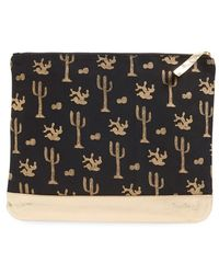 Alola - Cactus Print Canvas & Leather Clutch - Lyst