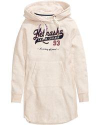 H&M Hooded Sweatshirt Dress - Lyst