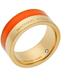 Michael Kors Gold-Tone And Orange-Accented Ring gold - Lyst
