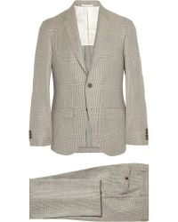 Hackett Prince Of Wales Check Wool Suit - Gray