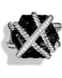 David Yurman Cable Wrap Ring With Black Onyx - Metallic