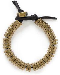 Giles & Brother Brass Nut Leather Bracelet - Metallic
