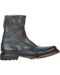 Premiata Paint-Streaked Ankle Boots - Lyst