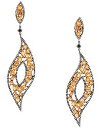Gemco - Diamond And Sapphire Drop Earrings - Lyst