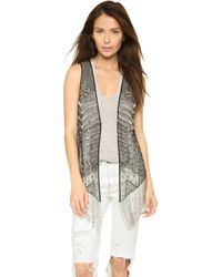 Haute Hippie Embellished Beaded Vest - Black/Antique Silver - Lyst