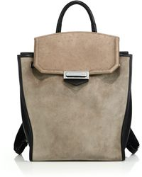 Alexander Wang | Prisma Suede, Leather & Ostrich-embossed Leather Backpack | Lyst