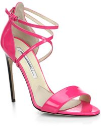 Brian Atwood Tamy Criss-Cross Patent Leather Strappy Sandals - Lyst