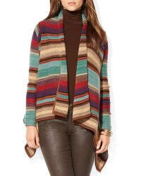 Ralph Lauren Lauren Multi Stripe Drape Cardigan - Lyst