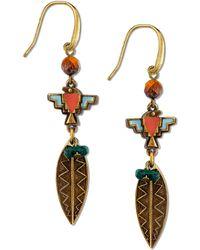 Tru. - Gold-tone Multicolor Feather Drop Earrings - Lyst