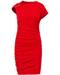 Lanvin Ruched Wool Dress - Lyst