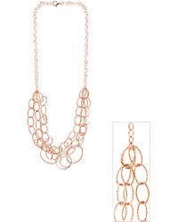 Lord + Taylor 18Kt. Rose Gold Over Sterling Silver Three-Strand Link Necklace - Pink