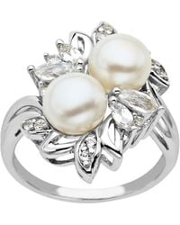 Lord & Taylor - Sterling Silver Pearl And White Topaz Ring - Lyst
