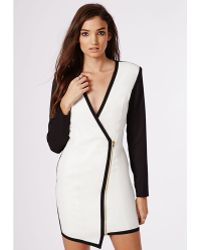 Missguided Chere Monochrome Tux Dress - Lyst