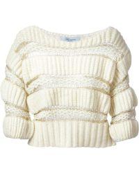 Blumarine Open Knit Detail Sweater - Lyst