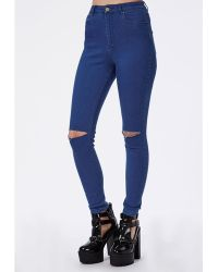 Missguided Edie High Waist Ripped Knee Skinny Jeans Intense Blue - Lyst