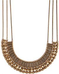 Lucky Brand Goldtone Textured Bead Collar Necklace - Brown