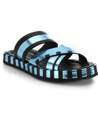 Acne Studios Metallic Striped Leather Slide Sandals - Lyst