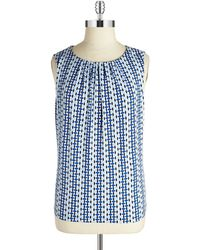 Calvin Klein Plus Patterned Pintucked Shell - Lyst