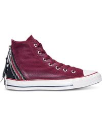 Converse Womens Chuck Taylor Tri-zip Sparkle Wash Casual Sneakers From Finish Line - Lyst