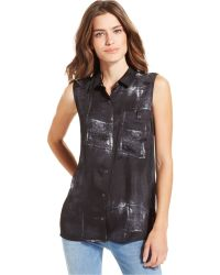 Calvin Klein Jeans Sleeveless Printed Top - Lyst