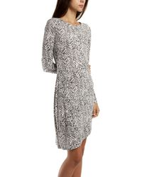 Thakoon Addition Gathered Side Dress In Line Print gray - Lyst