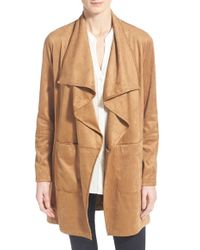 Vince Camuto Belted Faux Suede Jacket - Brown