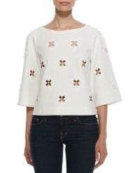 Tibi 34sleeve Boutis Embroidery Cutout Top - Lyst