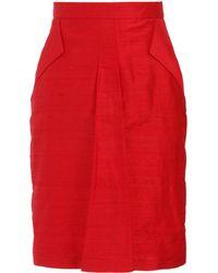 L'Wren Scott Dupioni Silk Skirt - Red