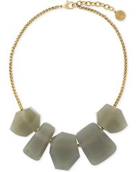 Vince Camuto - Gold-tone Geometric Grey Stone Frontal Necklace - Lyst