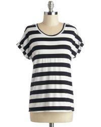 Sunny Girl Pty Lltd Breezy Basics Top In Monochrome Stripes black - Lyst