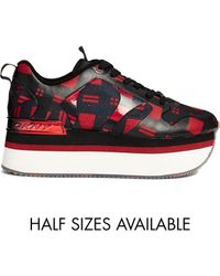DKNY Active - Jessica Runway Printed Plaid Flatform Sneakers - Lyst