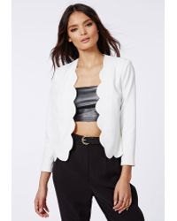 Missguided Laurie Scallop Cropped Blazer White - Lyst