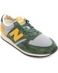 New Balance 420 Green And Yellow Suede And Mesh Sneakers - Lyst