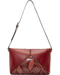 Stella McCartney Red Triangle Python Shoulder Bag - Lyst