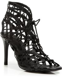Joie Open Toe Caged Ghillie Lace Up Sandals - Leah High Heel - Black