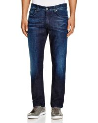 Armani Five Pocket Straight Fit Jeans - Blue